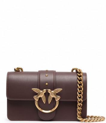 Сумка на цепочке PINKO Mini Love Bag Icon Simply 1P22AA в гладкой коже цвета бургунди