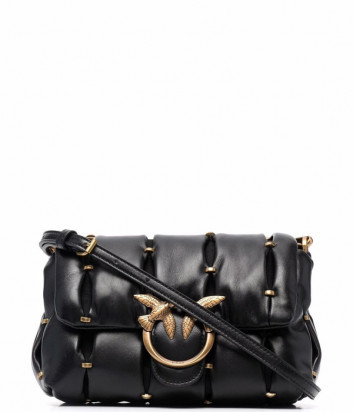 Кожаная сумка на цепочке PINKO Love Mini Puff 1P22E8 с заклепками черная