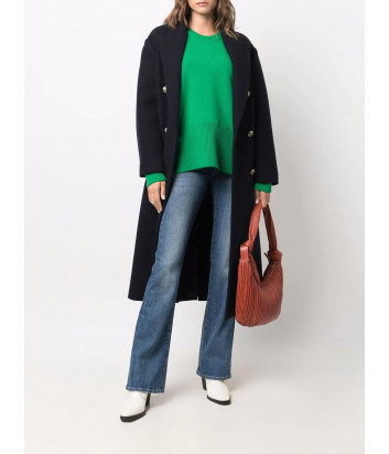 Двубортное шерстяное пальто P.A.R.O.S.H. LAYE D430281 синее