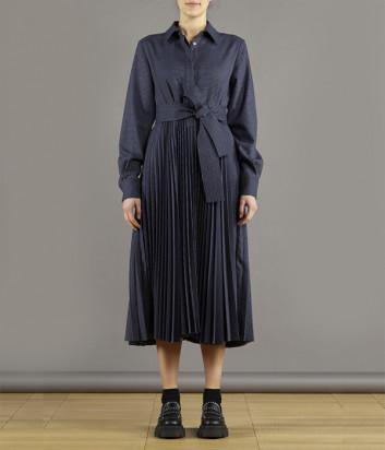 Платье с плиссированной юбкой P.A.R.O.S.H. Plico D724205 серое в мелкую клетку