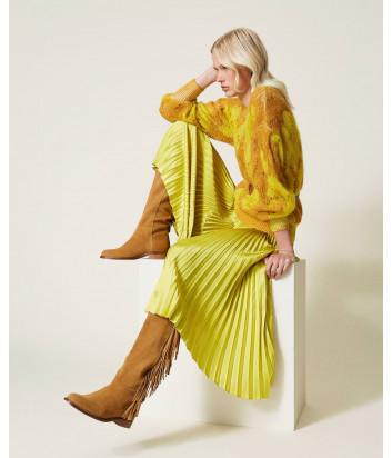 Желтая кофта TWINSET 212TP3550 из ажурного мохера с цветочным рисунком