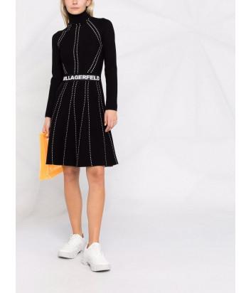 Трикотажное платье KARL LAGERFELD 216W2031 черное с декоративной строчкой