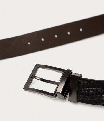 Мужской кожаный ремень KARL LAGERFELD 815302 512428 с тиснением черный