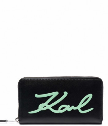 Кожаное портмоне на молнии KARL LAGERFELD 216W3248 черное с зеленым логотипом