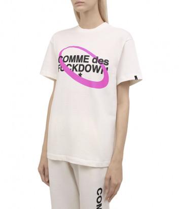 Женская хлопковая футболка COMME DES FUCKDOWN CDFD1631 черная