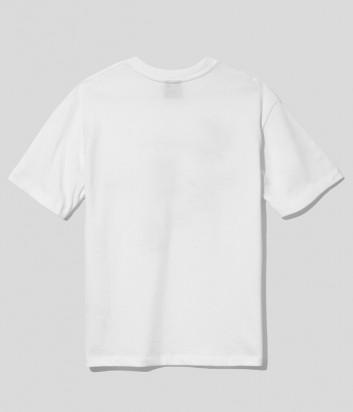 Хлопковая футболка COMME DES FUCKDOWN CDFD1576 белая с принтом