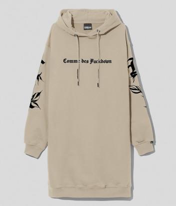 Платье-толстовка COMME DES FUCKDOWN CDFD1575 с капюшоном бежевое