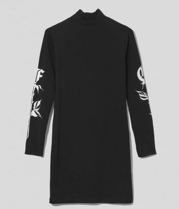 Платье COMME DES FUCKDOWN CDFD1579 черное с узором на рукавах