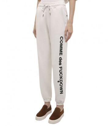 Спортивные брюки COMME DES FUCKDOWN CDFD1536 белые с принтом