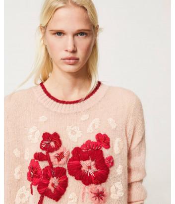 Трикотажная кофта TWINSET 202TP3430 с цветочной вышивкой розовая