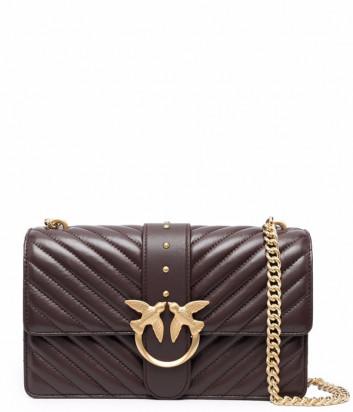 Сумка на цепочке PINKO Love Bag Classic Icon 1P22BT в стеганной коже бордовая
