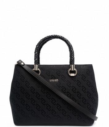 Жаккардовая сумка-тоут LIU JO AF1155 T6438 черная с принтом