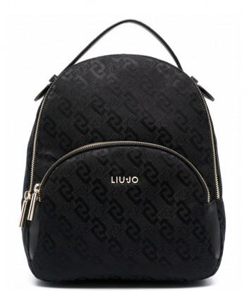 Жаккардовый рюкзак LIU JO AF1159 T6438 с внешним карманом черный