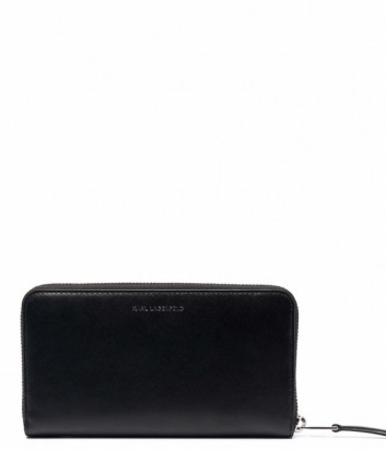 Кожаное портмоне KARL LAGERFELD 216W3248 на молнии черное с зеленым логотипом