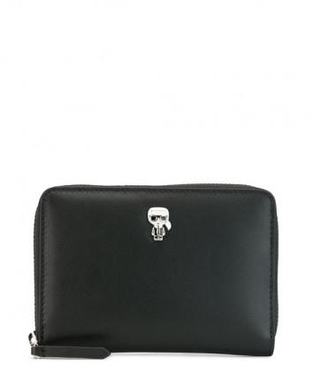 Кожаное портмоне на молнии KARL LAGERFELD Ikonik 201W3215 черное