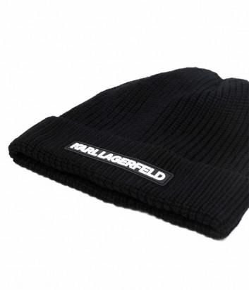 Шапка-бини KARL LAGERFELD Essential 216W3418 черная с логотипом