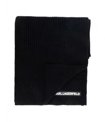 Шерстяной шарф KARL LAGERFELD 216W3319 черный с логотипом