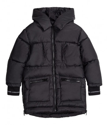 Детская куртка KARL LAGERFELD Kids Z16116 с логотипом на манжетах черная