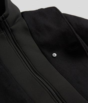Шерстяное пальто KARL LAGERFELD Kids Z26086 с капюшон черное
