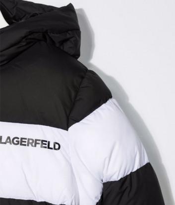 Пуховик KARL LAGERFELD Kids Z26084 с логотипом черно-белый
