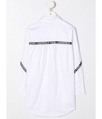 Платье-рубашка KARL LAGERFELD Kids Z12197 белое с брендированной тесьмой