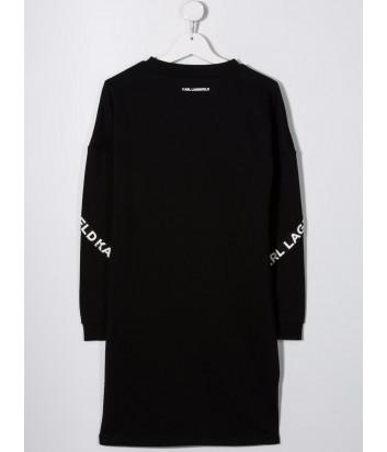 Платье-толстовка KARL LAGERFELD Kids Z12187 черное с логотипом