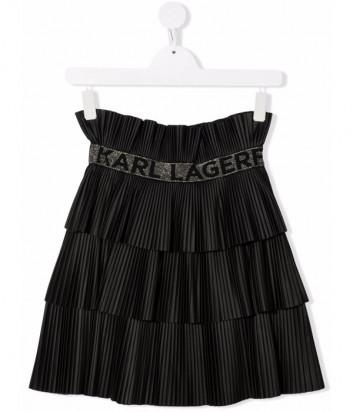 Плиссированная юбка KARL LAGERFELD Kids Z13077 с брендированным поясом