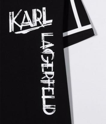 Футболка из органического хлопка KARL LAGERFELD Kids Z25300 черная с логотипом