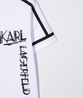 Футболка из органического хлопка KARL LAGERFELD Kids Z25300 белая с логотипом