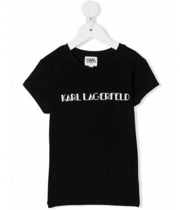 Футболка KARL LAGERFELD Kids Z15326 черная с логотипом