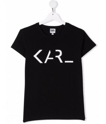 Футболка KARL LAGERFELD Kids Z15320 черная с логотипом