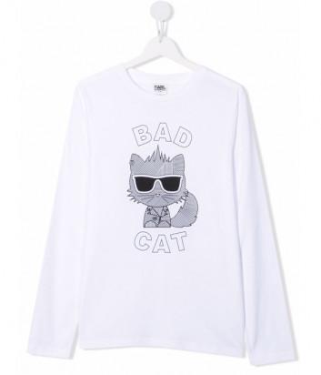 Лонгслив KARL LAGERFELD Kids Z25315 белый с рисунком Bad Cat