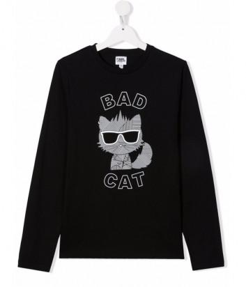 Лонгслив KARL LAGERFELD Kids Z25315 черный с рисунком Bad Cat