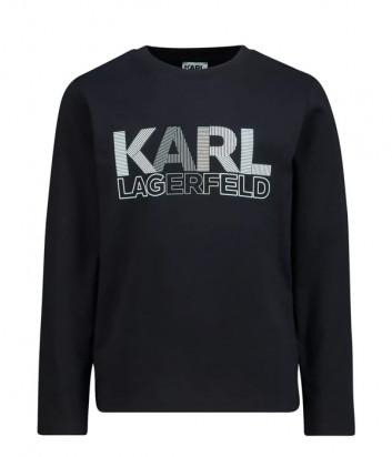Лонгслив KARL LAGERFELD Kids Z25310 черный с логотипом
