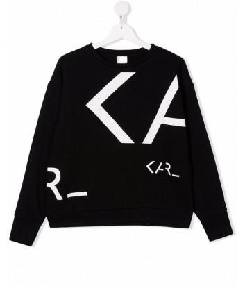Толстовка KARL LAGERFELD Kids Z15339 черная с логотипом