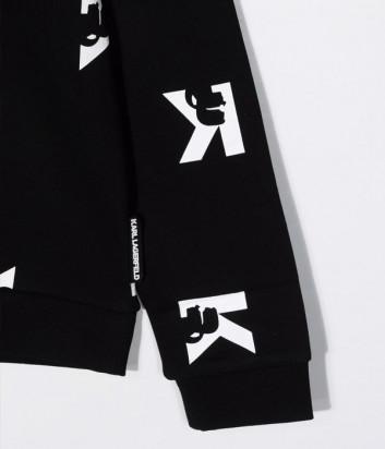 Толстовка KARL LAGERFELD Kids Z25320 черная с принтом в виде букв