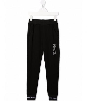 Спортивные брюки KARL LAGERFELD Kids Z24122 черные с логотипом