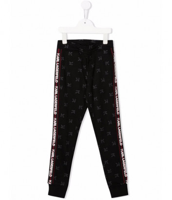 Спортивные брюки KARL LAGERFELD Kids Z24121 черные с логотипом на лампасах