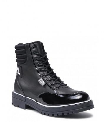 Кожаные ботинки KARL LAGERFELD Kids Z19063 черные с логотипом