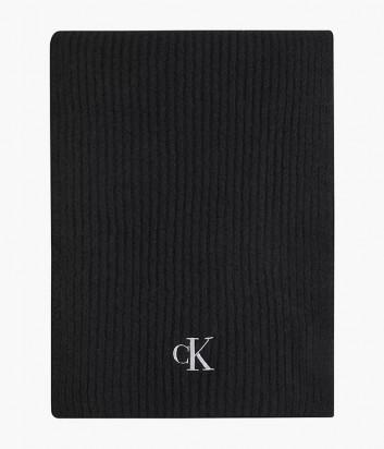 Вязанный шарф CALVIN KLEIN Jeans K60K608370 черный с логотипом