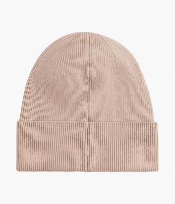 Вязанная шапка CALVIN KLEIN Jeans K60K608519 пудровая с логотипом