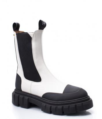 Белые ботинки ANGELO BERVICATO B4368 с контрастными черными вставками