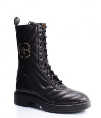 Ботинки на шнуровке ANGELO BERVICATO B4496 в стеганной коже черные