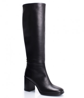 Кожаные сапоги ANGELO BERVICATO B4574 на широком каблуке черные