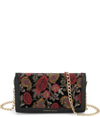 Сумка-клатч TOSCA BLU Tris TF2133B38 черная с цветочной вышивкой