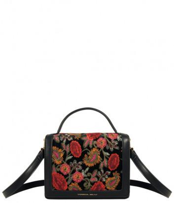 Сумка TOSCA BLU Tris TF2133B3 черная с роскошной цветочной вышивкой