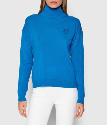 Кашемировый гольф PINKO 1G167RY774 с вышитым логотипом голубой