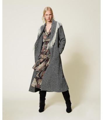 Длинное пальто TWINSET 212TP2610 из шерстяного сукна с шевронным узором и бахромой