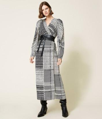 Длинное платье TWINSET 212TT234A с принтом гусиная лапка