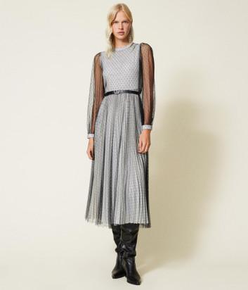 Длинное платье TWINSET 212TT2061 c расклешенной юбкой с плиссировкой